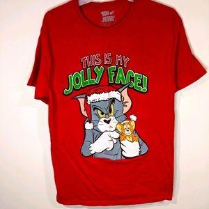 Tom and Jerry Christmas T-shirt - Sz M
